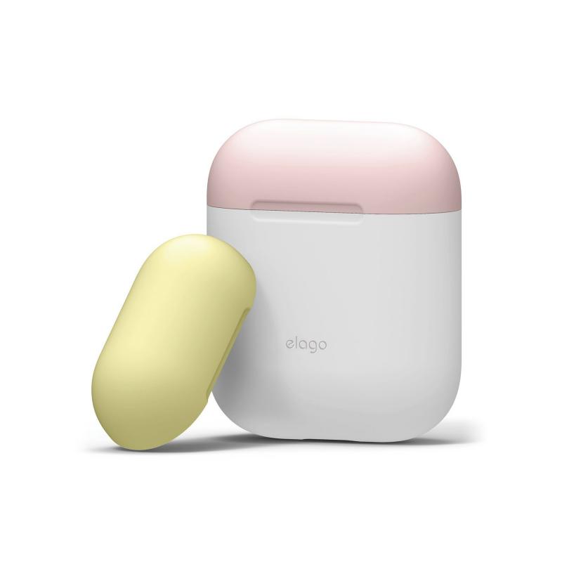 Чехол для AirPods – Белый (розовая/желтая крышка)