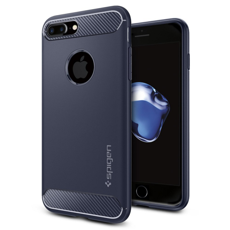 Чехол Spigen (SGP) Rugged Armor на iPhone 7 Plus  (Айфон) - Тёмно-синий