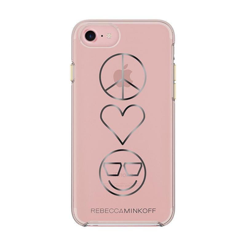 Чехол Rebecca Minkoff Double UP Peace, Love, Happiness на iPhone 7/8 (Айфон) – Прозрачный