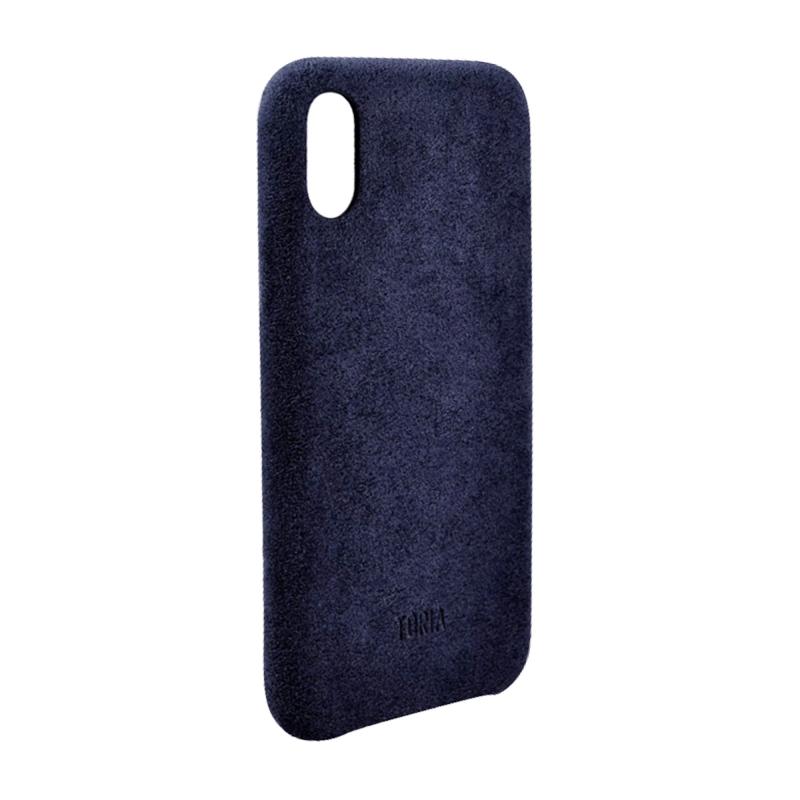 Чехол TORIA Alcantara (Notte) на iPhone X/Xs - Тёмно-синий