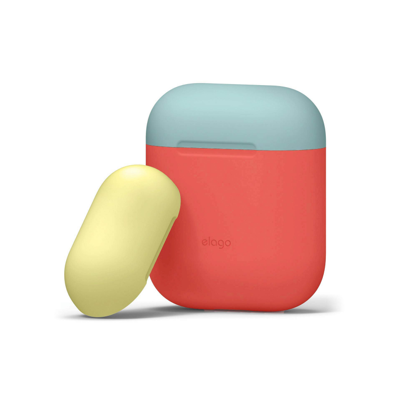 Elago DUO силиконовый чехол для AirPods (Цвет Body-Italian Rose / Top-Coral Blue, Yellow)