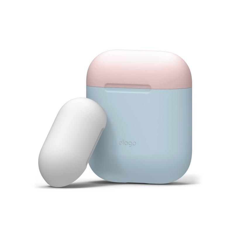 Elago DUO силиконовый чехол для AirPods Цвет (Body-Pastel Blue / Top-Pink, White)