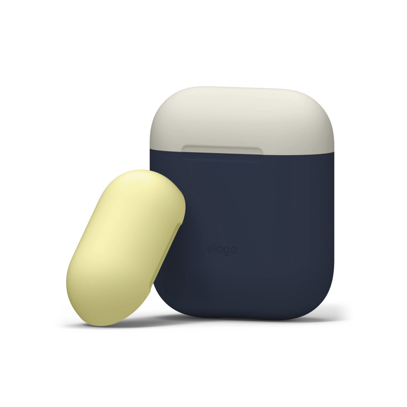 Elago DUO силиконовый чехол для AirPods Цвет (Body-Jean Indigo / Top White, Yellow)