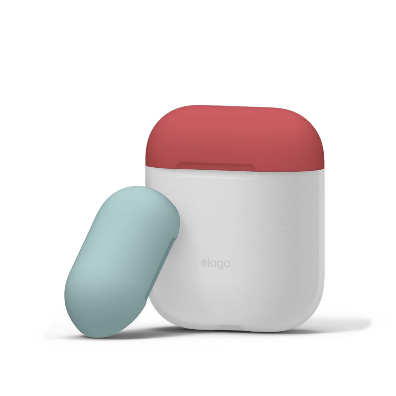 Elago DUO силиконовый чехол для AirPods (Body-Night Glow/Top-Italian Rose, Coral Blue)