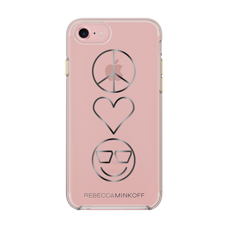 Чехол Rebecca Minkoff Double UP Peace, Love, Happiness на iPhone 7 – (Цвет - розовый)